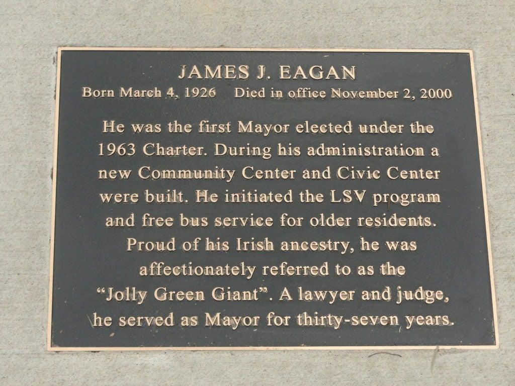 James J. Eagan commemoration plaque in Florissant, MO
